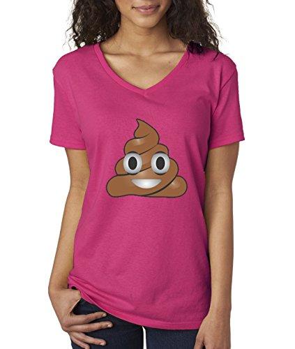 Cartoon New Shirt (New Way 119 - Women's V-Neck T-Shirt Emoji POOP Cartoon XS Heliconia)
