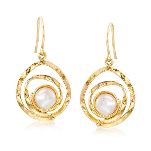 Ross-Simons 7-7.5mm Cultured Pearl Swirl Drop Earrings in 18kt Gold Over -