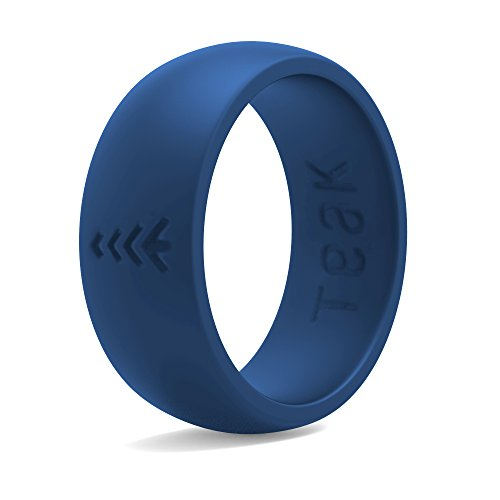 Silicone Wedding Ring for Men. Rubber Wedding Band for Every Day Use - Weight Training, Sports, Military, Work, Hunting, Travel and Outdoors, Blue - Size 8 (Shop Teak)