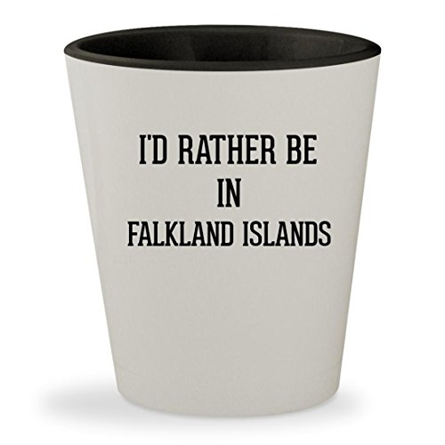 I'd Rather Be In FALKLAND ISLANDS - White Outer & Black Inner Ceramic 1.5oz Shot Glass ()