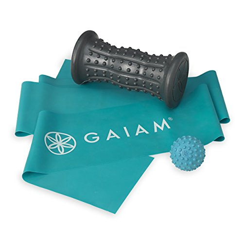 Gaiam Restore Treat Your Feet Foot Massage Kit (Hot & Cold Foot Roller, Ultimate Foot Massage Ball, Flat Resistance Band) ()