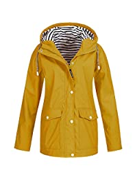 Rain Jacket Outdoor Hooded Women Trench Coats Waterproof Raincoat