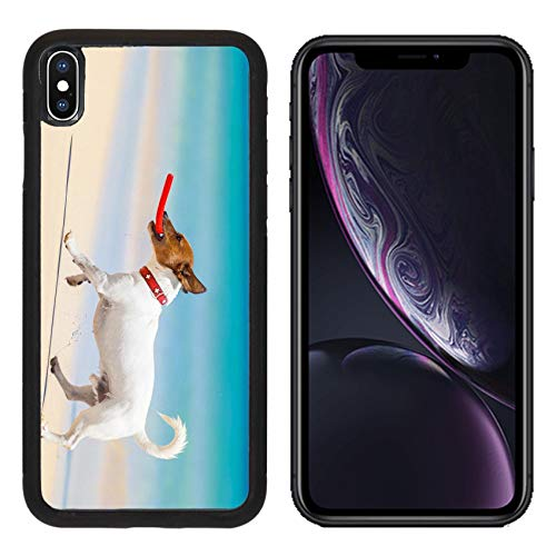 MSD Apple iPhone XR Case Aluminum Backplate Bumper Snap Case Image ID 28835611 Dog catching a red Flying disc and Running at The Beach