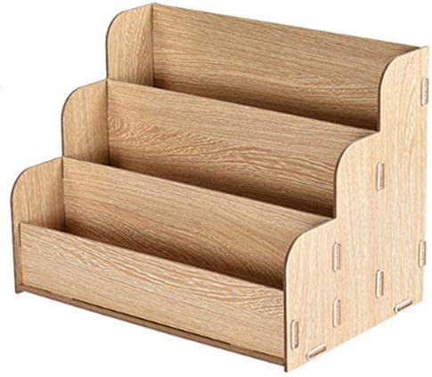 AGWa Desk File Organizer, Desktop A4 Aktenregal aus Holz Multifunktionales kreatives Finishing Office-Aufbewahrungsbox Informationsständer Office Storage Rack