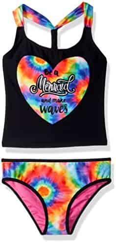 Limited Too Girls' Tie Dye W/Mermaid Foil Tankini