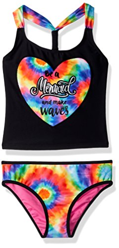 Limited Too Little Girls' Tie Dye W/Mermaid Foil Tankini, Black, 4 ()
