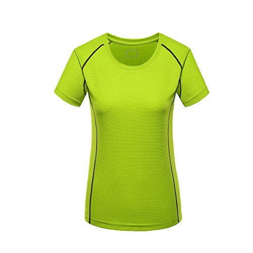 Laixing Buena Calidad Womens Casual Outdoor Sports Quick Dry Slim Fit T-Shirt Tops Short Sleeve Green
