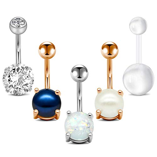 QWALIT 14G Belly Button Rings Navel Rings Surgical Steel Jeweled Pearl Navel Piercing Barbell for Women Girls Short Belly Button Piercing Bar Body Jewelry 3/8