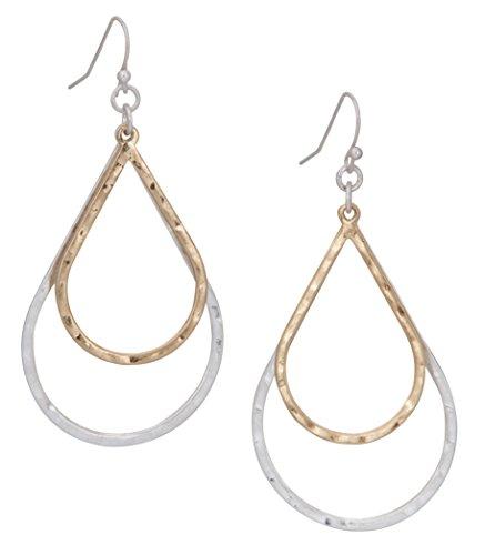 2 Toned Gold Silver Satin Open Hoop Light Weight Teardrop Dangle Earring For Women   Spunkysoul Collection