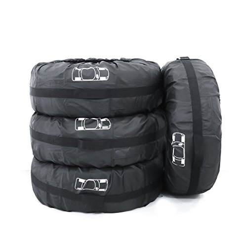 FLR 4 Pcs Black Tire Cover 66cm/26in Diameter Foldable Spare Tire Covers Protection Covers Storage Bags Wheel Cover for Car Off Road ()