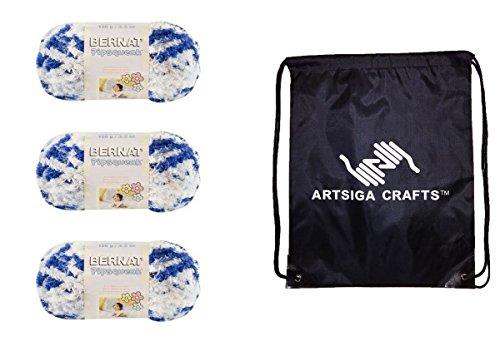 Bernat Pipsqueak Yarn (3-Pack) Blue Jean Swirl 162059-59115 with 1 Artsiga Crafts Project Bag (Yarn Swirl Chunky)
