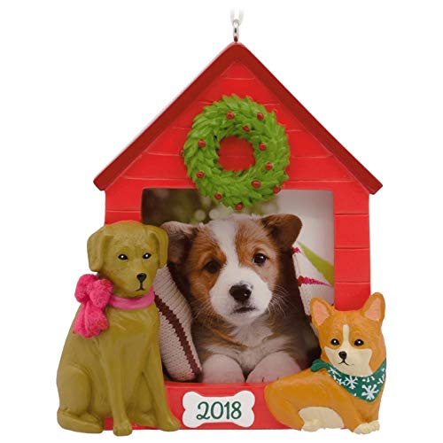 Wreath House Ornament (Hallmark Christmas Canines 2018 Dog House Picture Frame Ornament Pets)