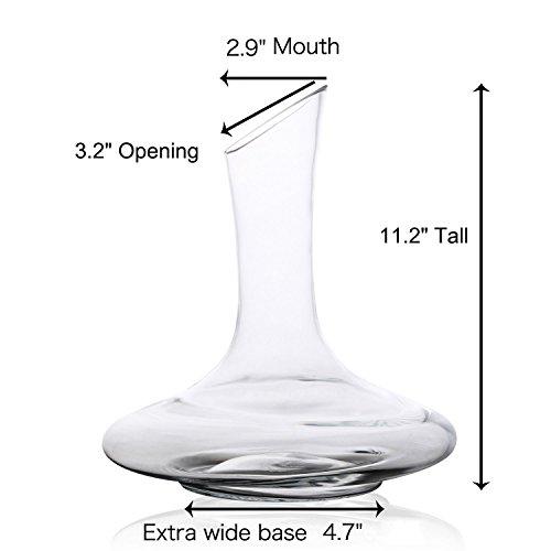 DRAGONN Luxury Wine Decanter - 100% Hand Blown Lead-free Crystal Glass Wine Carafe - Bonus Cork Stopper & Steel Cleaning Beads Accessories