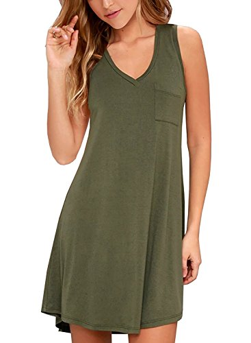 TIMOCHALA Women's Summer Casual Loose Pleated Swing T-Shirt Dress with Pockets (M, Army Green)