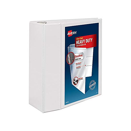 Avery Heavy Duty View 3 Ring Binder, 5 One Touch EZD Ring, Holds 8.5 x 11 Paper, 1 White Binder (79106)