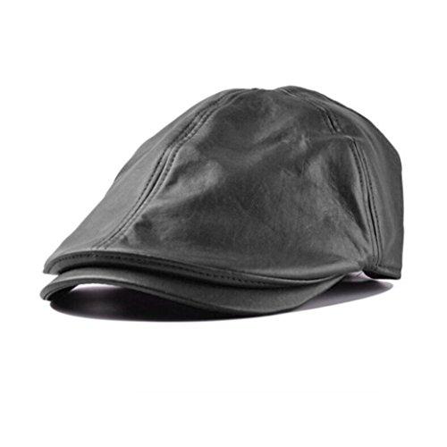 Saingace Mode Kappe,Herren Damen Vintage Leder Beret Cap Schirmmütze Ballon- Sunscreen (Schwarz)
