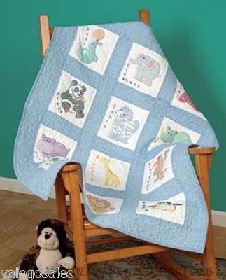Jack Dempsey 300 78 Children's Zoo Nursery Quilt Blocks - Stitch Stamped Blocks Cross Quilt