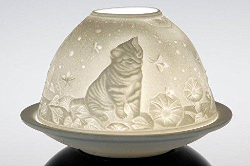 Porcelain Dome Lights in a Kittens Design Design Porcelain Candle Holder