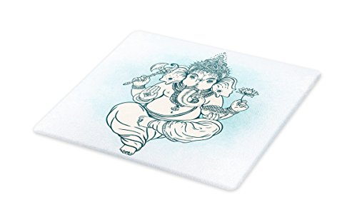 Lunarable Eastern Cutting Board, Bohemian Elephant Asian Curved Trunk Yoga Meditation Theme Modern Illustration, Decorative Tempered Glass Cutting and Serving Board, Small Size, Sky Blue by Lunarable