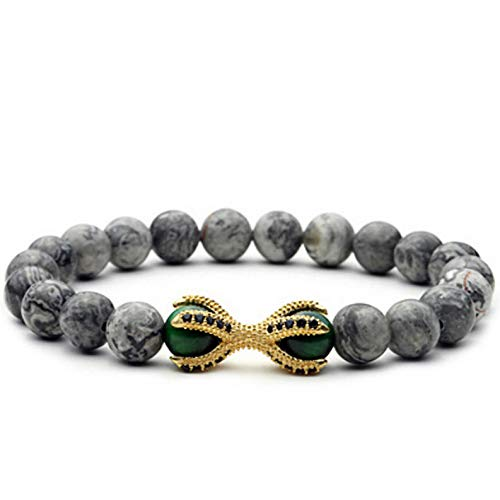 (Mikash Charm Mens Gray Jasper 18K Gold Plated CZ Dragon Claw Beaded Yoga Bracelet | Model BRCLT - 10004 |)