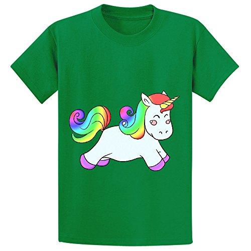 Price comparison product image Snowl Happy Unicorn Child Crew Neck Short Sleeve T Shirts Green