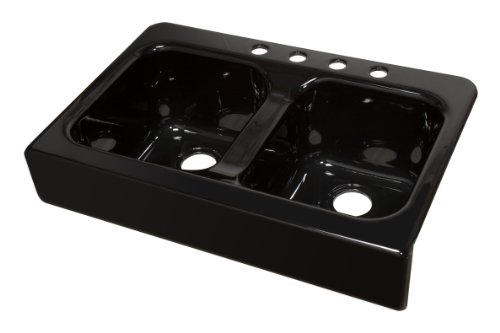Lyons Industries DKS22AP-3.5 Designer Black Apron Front Dual Bowl Acrylic 10-Inch Deep Kitchen Sink by Lyons Industries