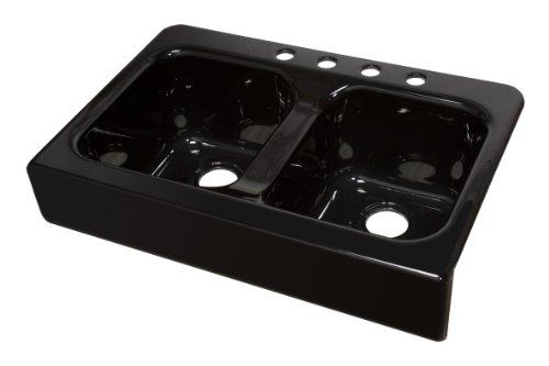 Lyons Industries DKS22AP-3.5 Designer Black Apron Front Dual Bowl Acrylic 10-Inch Deep Kitchen Sink by Lyons Industries