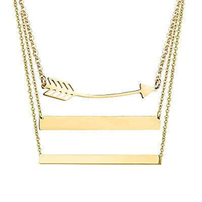 Adramata Stainless Steel Personalized Bar Necklaces for Women Engravable Pendant Necklace Jewelry
