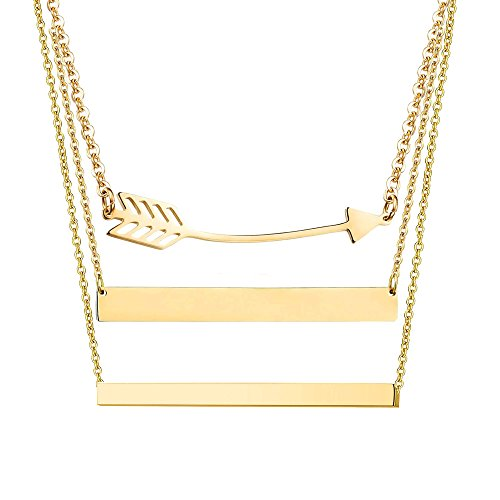- Adramata Stainless Steel Personalized Bar Necklaces for Women Engravable Pendant Necklace Jewelry G