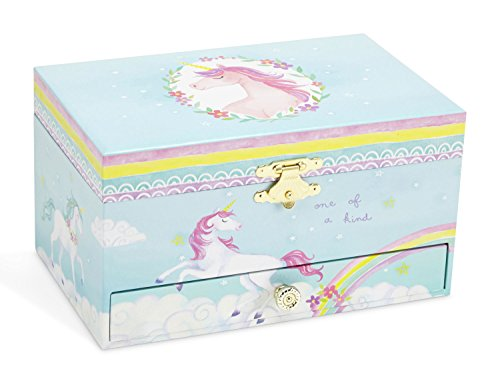 JewelKeeper Girl's Musical Jewelry Storage Box Pullout Drawer, Rainbow Unicorn Design,Somewhere Over The Rainbow Tune by JewelKeeper (Image #1)