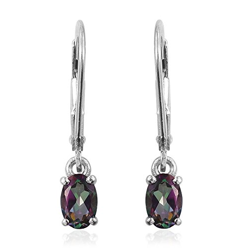 Northern Lights Mystic Topaz Platinum Plated Silver Lever Back Fashion Dangle Earrings For Women 0.9 - Platinum Mystic Topaz