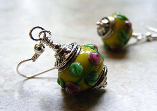 Yellow and Pink Floral Lampwork Glass Dangle (Sale Lampwork Earrings)
