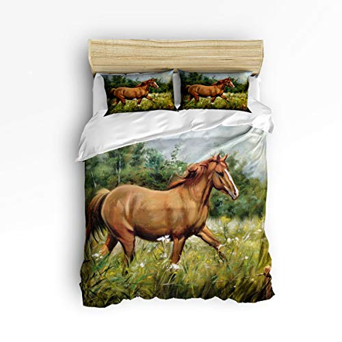 YEHO Art Gallery , Hand Painting Running Horse Animal Pattern Cute 3 Piece Duvet Cover Sets for Boys Girls, Cute Decorative Bedding Set Include 1 Comforter Cover with 2 Pillow Cases Twin Size