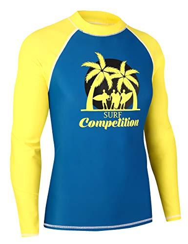 MZ Garment Rash Guard Men UV Sun Protection Basic Skins Long Sleeve Crew Sun Shirt Surfing Shirt (001-yellow/blue, XL) - Guard Sleeve Rash Crew Long