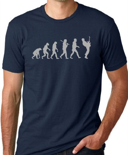 Think Out Loud Apparel Guitar Player Evolution Funny T-Shirt Navy S