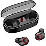 True Wireless Earbuds, LED Display IPX5 Waterproof Cordless Earphones 20H Playtime TWS Dual Stereo HiFi Sound Bluetooth 5.0 in-Ear Headphones Clear Call Mic Ergonomics Design Noise Cancelling (Black)