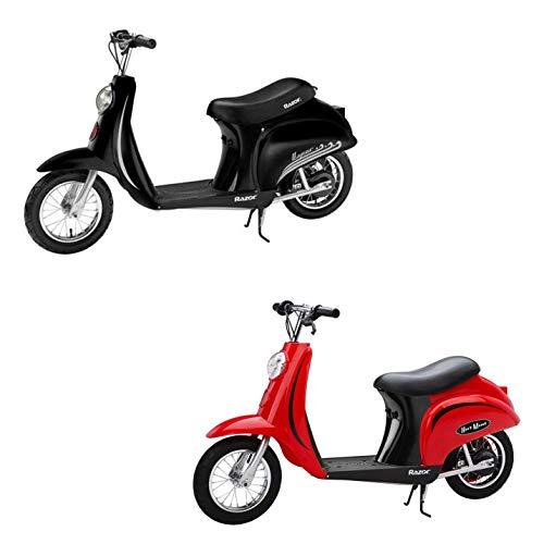 Razor Pocket Mod Miniature Euro 24 Volt Electric Retro Scooters, 1 Red & 1 Black (Razor Pocket Mod 24v Electric Scooter Red)