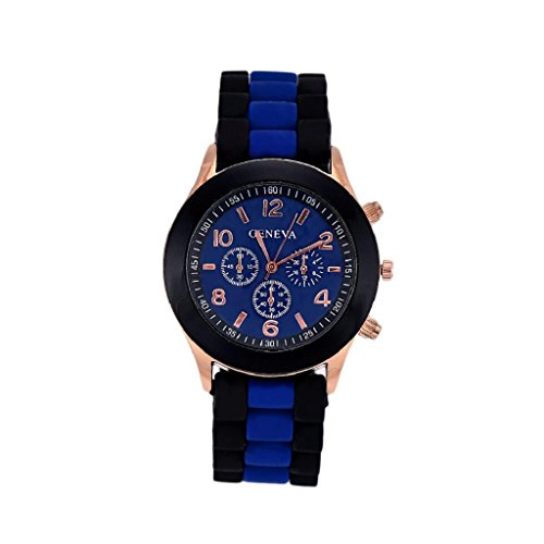 Geneva Watch,FUNIC Colorful Unisex Silicone Jelly Gel Quartz Analog Sports Wrist Watch(Blue)
