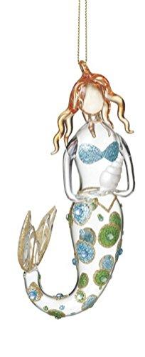 (Mermaid Holding a Seashell Christmas Ornament)