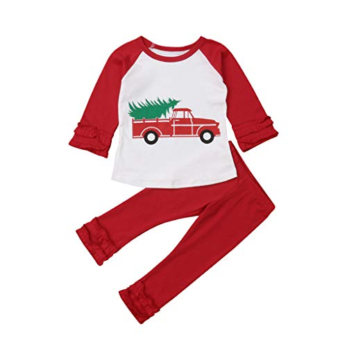 Winsummer Toddler Baby Girls Long Sleeve Christmas Truck Xmas Tree Print Tops and Flare Pants Long Sleeve Ruffle Outfit
