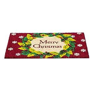 Evergreen Flag Merry Christmas Wreath Coir Fiber Door Mat 25