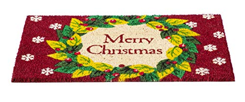 Evergreen Flag Merry Christmas Wreath Coir Fiber Door Mat (Coir Christmas Mat Door)