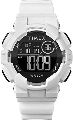Timex Unisex TW5M23700 DGTL 44mm White/Black/Negative Silicone Strap Watch
