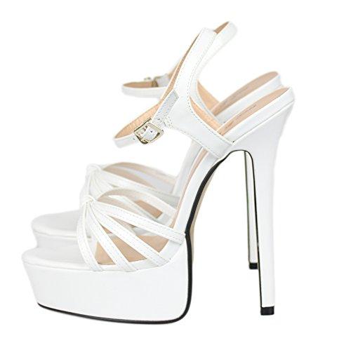 ZPL Women's Sandals High Heels For Women Shoes Platform Ladies Ankle Strap Buckle Stiletto Peep Toe Dress Bridal Party Size 40-48 White ek7HIu5X