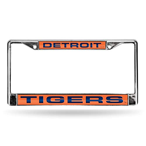 Detroit Tigers Metal - Rico Detroit Tigers Orange MLB Chrome Metal Laser Cut License Plate Frame
