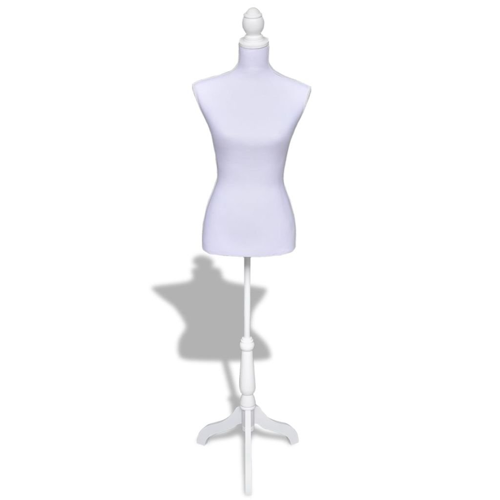 vidaXL Lady Mannequin Bust Window Torso Dress Form Display White Model w/Tripod Stand