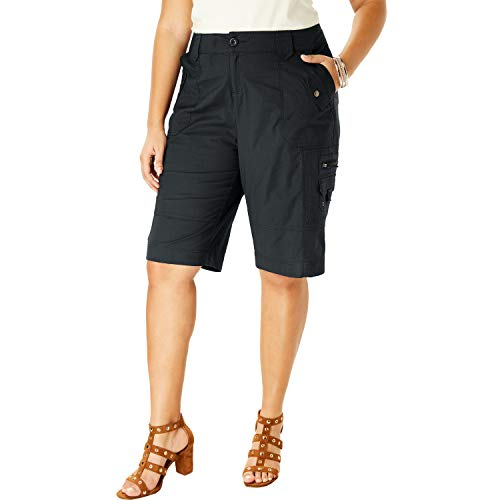 Roamans Women's Plus Size Cargo Shorts - Black, 20 W