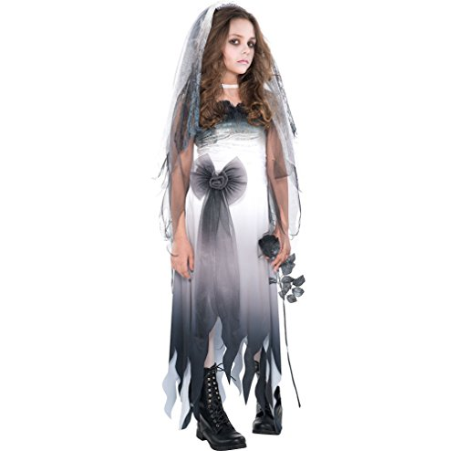 Amscan Graveyard Bride Halloween Costume for Girls, Extra Large, with Included Accessories -