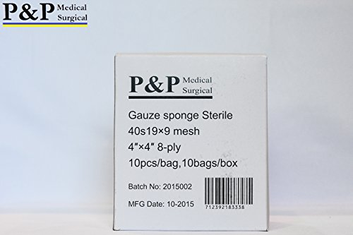 GAUZE SPONGE COTTON STERILE 8 ply (Grade Class I(a) cotton raw used for production)_4 x 4 _ 10 boxes = 1000 pads (10 Pcs/bag, 10 bags/box) _ MANUFACTURED BY P&P MEDICAL SURGICAL LLC by P&P Medical Surgical (Image #3)
