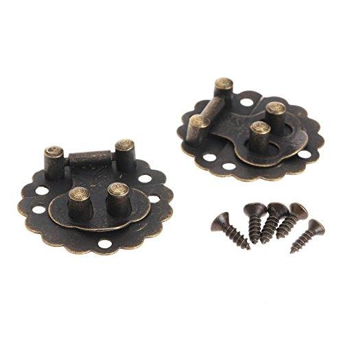 Dophee 10Pcs Round Antique Bronze Jewelry Chest Cigar Box Decorative Latch Hasp Lock